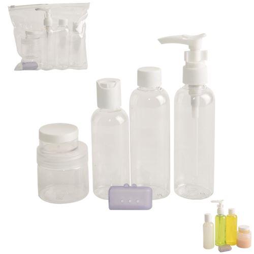 Souprava kosmetických plastových lahviček na cesty