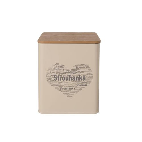 Dóza plech / dřevo 11,5x11,5x14 cm STROUHANKA SRDCE