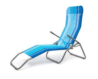 HAPPY GREEN Plážové lehátko s modrými pruhy