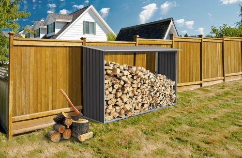 Přístřešek na dřevo G21 WOH 181 - 242 x 75 cm šedý 63900494